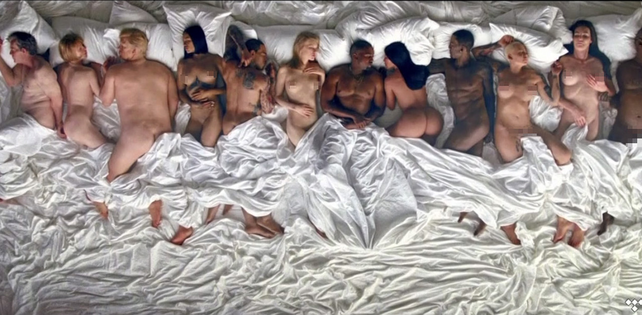 Famous, all naked in the video for Kanye West